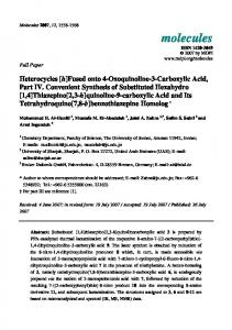 Fused onto 4-Oxoquinoline-3-Carboxylic Acid, Part IV ... - CiteSeerX