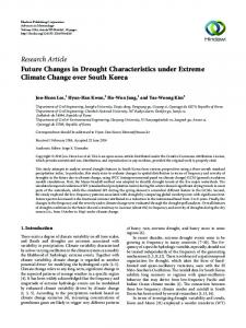 Future Changes in Drought Characteristics under Extreme Climate ...