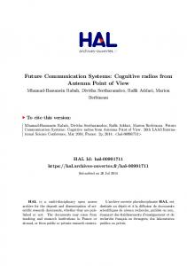 Future Communication Systems: Cognitive radios ...