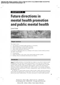 Future directions in mental health promotion and public mental health