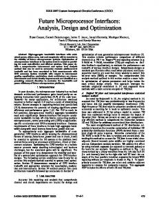 Future Microprocessor Interfaces: Analysis, Design and Optimization
