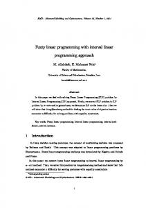 Fuzzy linear programming with interval linear programming ... - camo