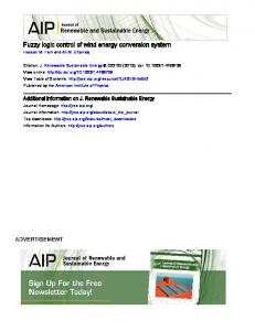 Fuzzy logic control of wind energy conversion system - Semantic Scholar