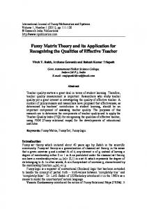 Fuzzy Matrix Theory and its Application for