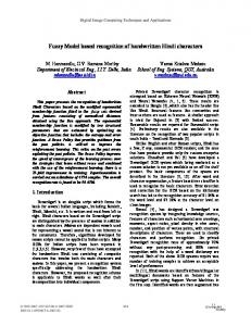 Fuzzy Model based recognition of handwritten Hindi ... - QUT ePrints