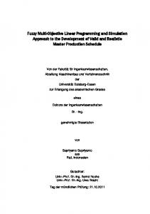 Fuzzy Multi-Objective Linear Programming and Simulation ...