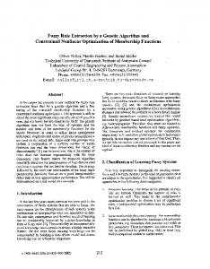 Fuzzy Rule Extraction by a Genetic Algorithm and Constrained ...