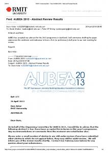 Fwd: AUBEA 2013 - Abstract Review Results