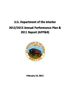 FY2012-2013 Annual Performance Plan and FY2011 Report