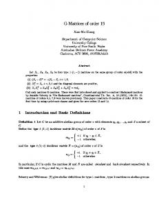 G-Matrices of order 19