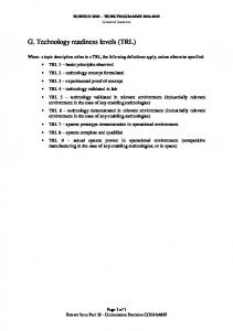 G. Technology readiness levels (TRL)