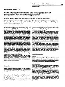 G6PD deficiency from lyonization after hematopoietic stem cell ...