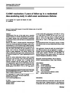 GAD65 vaccination: 5 years of follow-up in a randomised dose ...