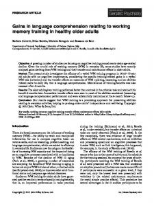 Gains in language comprehension relating to working memory training ...