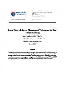 Game Theoretic Power Management Techniques ... - Semantic Scholar
