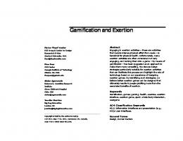 Gamification and Exertion - Gamification Research Network