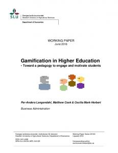 Gamification in Higher Education