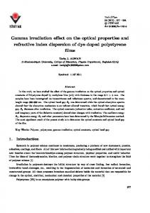 Gamma irradiation effect on the optical properties and ... - DergiPark