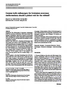 Gamma knife radiosurgery for brainstem cavernous malformations ...