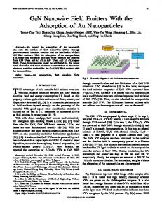 GaN Nanowire Field Emitters With the Adsorption of Au ... - IEEE Xplore