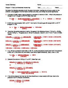 Gas Laws Packet #2 Ideal Gas Law Worksheet PV = nRT - MAFIADOC.COM