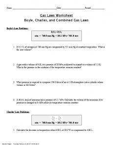 Gas Laws Worksheet Boyle Charles and Combined Gas Laws