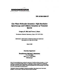 Gas-Phase Molecular Dynamics - Brookhaven National Laboratory
