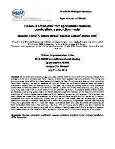 Gaseous emissions from agricultural biomass combustion: a