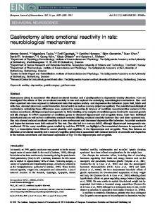 Gastrectomy alters emotional reactivity in rats - Wiley Online Library