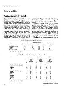 Gastric cancer in Norfolk - Europe PMC