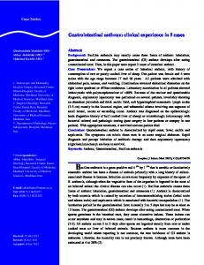 Gastrointestinal anthrax - Caspian Journal of Internal Medicine