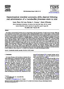 Gastrointestinal microbial community shifts ... - Wiley Online Library