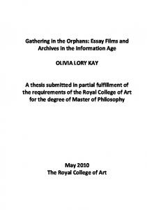 Gathering in the Orphans: Essay Films and Archives in the ...