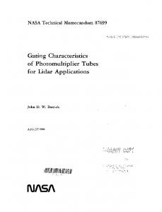 Gating characteristics of photomultiplier tubes for Lidar applications