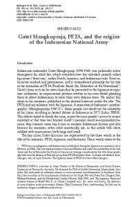 Gatot mangkupraja, PetA, and the origins of the indonesian national ...