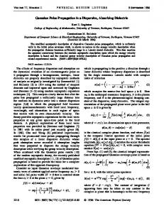 Gaussian Pulse Propagation in a Dispersive ... - APS Link Manager
