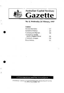 Gazette 8 1997 - ACT Legislation Register - ACT Government