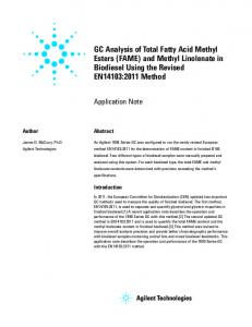 GC Analysis of Total Fatty Acid Methyl Esters (FAME) and ... - Agilent
