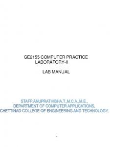 GE2155 COMPUTER PRACTICE LABORATORY-II LAB MANUAL