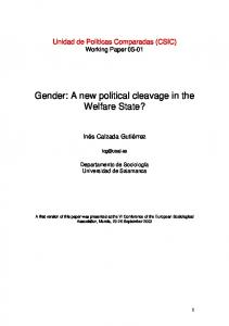 Gender: A new political cleavage in the Welfare State? - CSIC