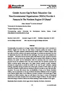 Gender Access Gap In Basic Education: Can Non-Governmental ...