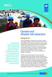 Gender and disaster risk reduction - UNDP