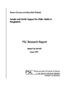 Gender and Family Support for Older Adults in Bangladesh - Michigan ...