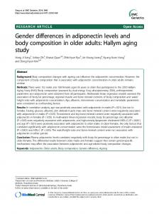 Gender differences in adiponectin levels and body ... - BioMedSearch