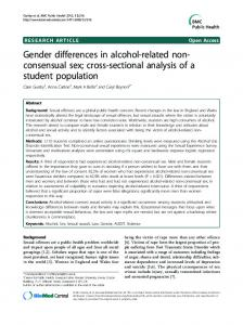 Gender differences in alcohol-related non-consensual sex; cross
