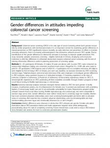 Gender differences in attitudes impeding colorectal ... - BioMedSearch