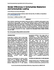 Gender Differences in Carbohydrate Metabolism and ... - BioMedSearch
