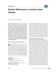gender differences in coronary heart disease