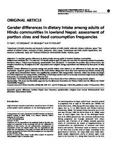 Gender differences in dietary intake among adults of Hindu ... - Nature