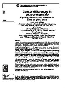 Gender differences in entrepreneurship